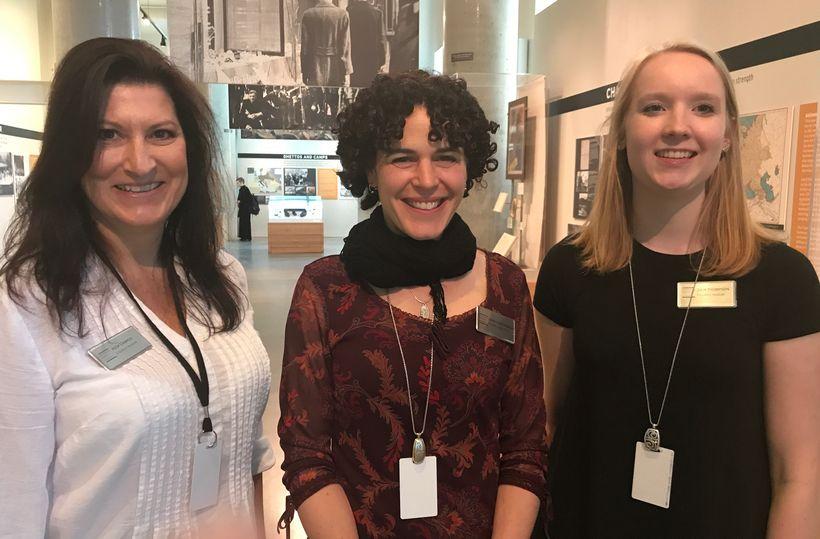 Rosa Compos (Education Assistant) Ilana Cone Kennedy (Director of Education) Julia Thompson (Education Associate) at the Holo