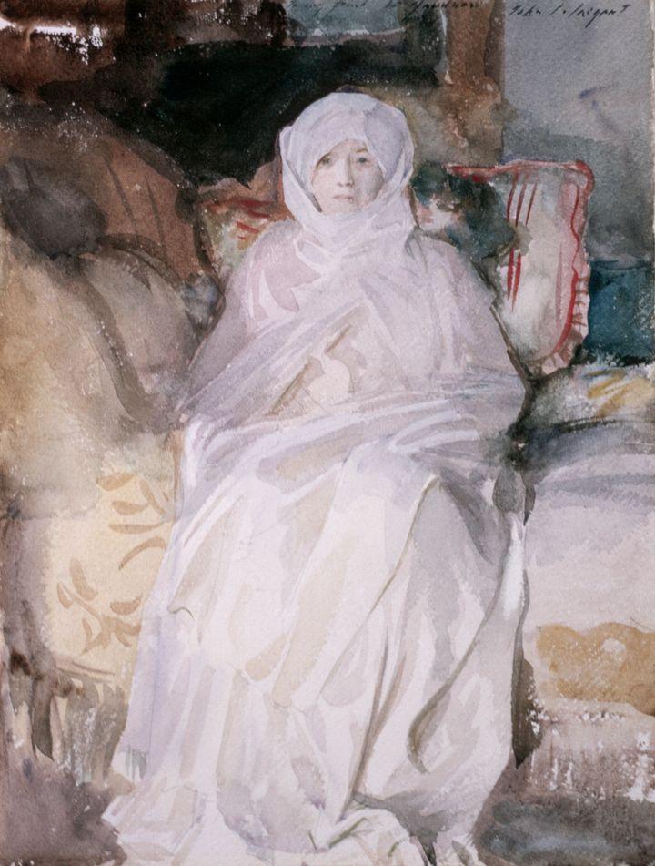 """""""Mrs. Gardner in White"""" by John Singer Sargent."""