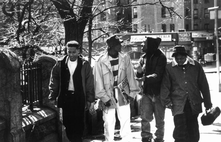 "Khalil Kain, Omar Epps, Tupac Shakur and Jermaine Hopkins in a scene from the film ""Juice"" in 1992."