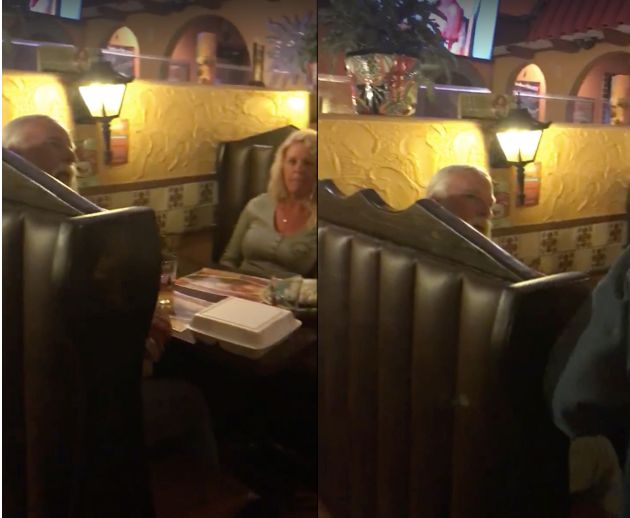 A man is seen berating a group of Muslim girls with obscene language inside of a Mexican restaurant.