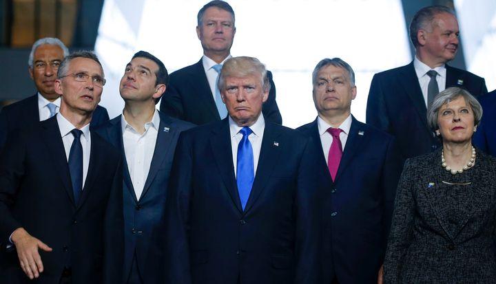(L-R) Portuguese Prime Minister Antonio Costa, NATO Secretary General Jens Stoltenberg, Greek Prime Minister Alexis Tsipras,