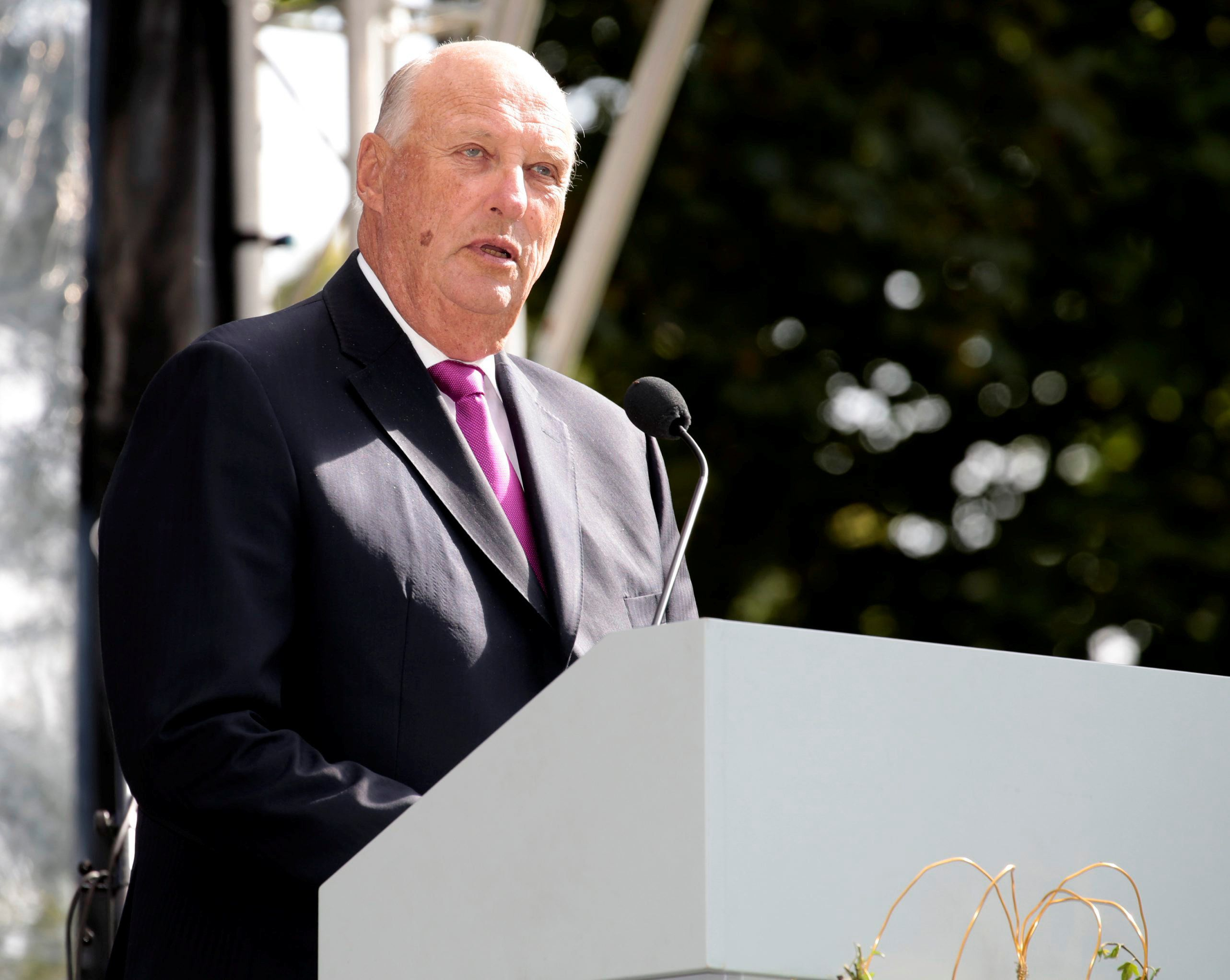 Norway's King Harald speaks at a garden party in Palace Park, Oslo, Norway, September 1, 2016. Picture taken September 1, 2016. NTB Scanpix/Lise Aaserud/via REUTERSATTENTION EDITORS - THIS IMAGE WAS PROVIDED BY A THIRD PARTY. FOR EDITORIAL USE ONLY. NOT FOR SALE FOR MARKETING OR ADVERTISING CAMPAIGNS. THIS PICTURE IS DISTRIBUTED EXACTLY AS RECEIVED BY REUTERS, AS A SERVICE TO CLIENTS. NORWAY OUT. NO COMMERCIAL OR EDITORIAL SALES IN NORWAY. NO COMMERCIAL SALES.
