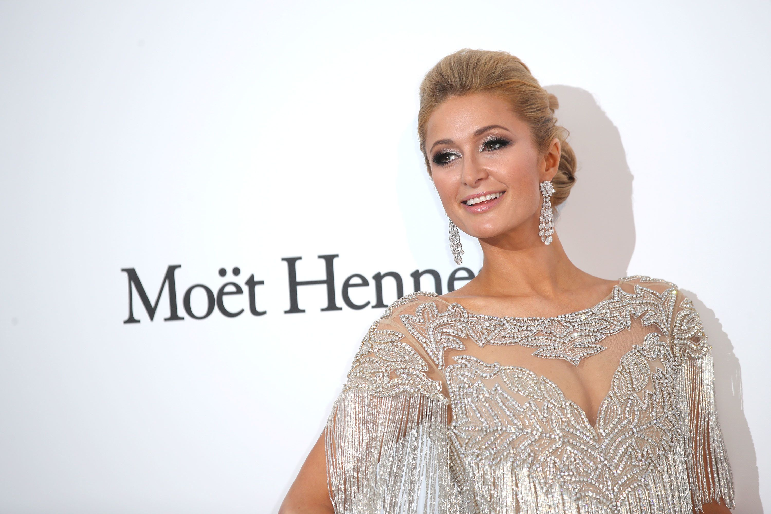Paris Hilton arrives at the amfAR Gala in Cannes on May 25.