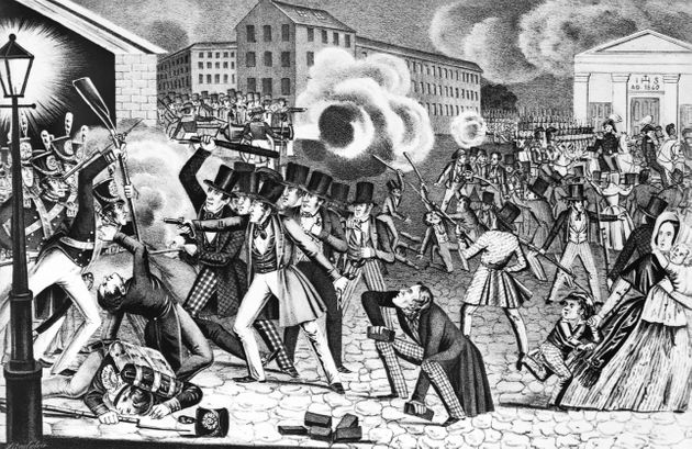 An illustration showcases anti-Catholic riots in Philadelphia in 1844. Irish Catholic immigration to...