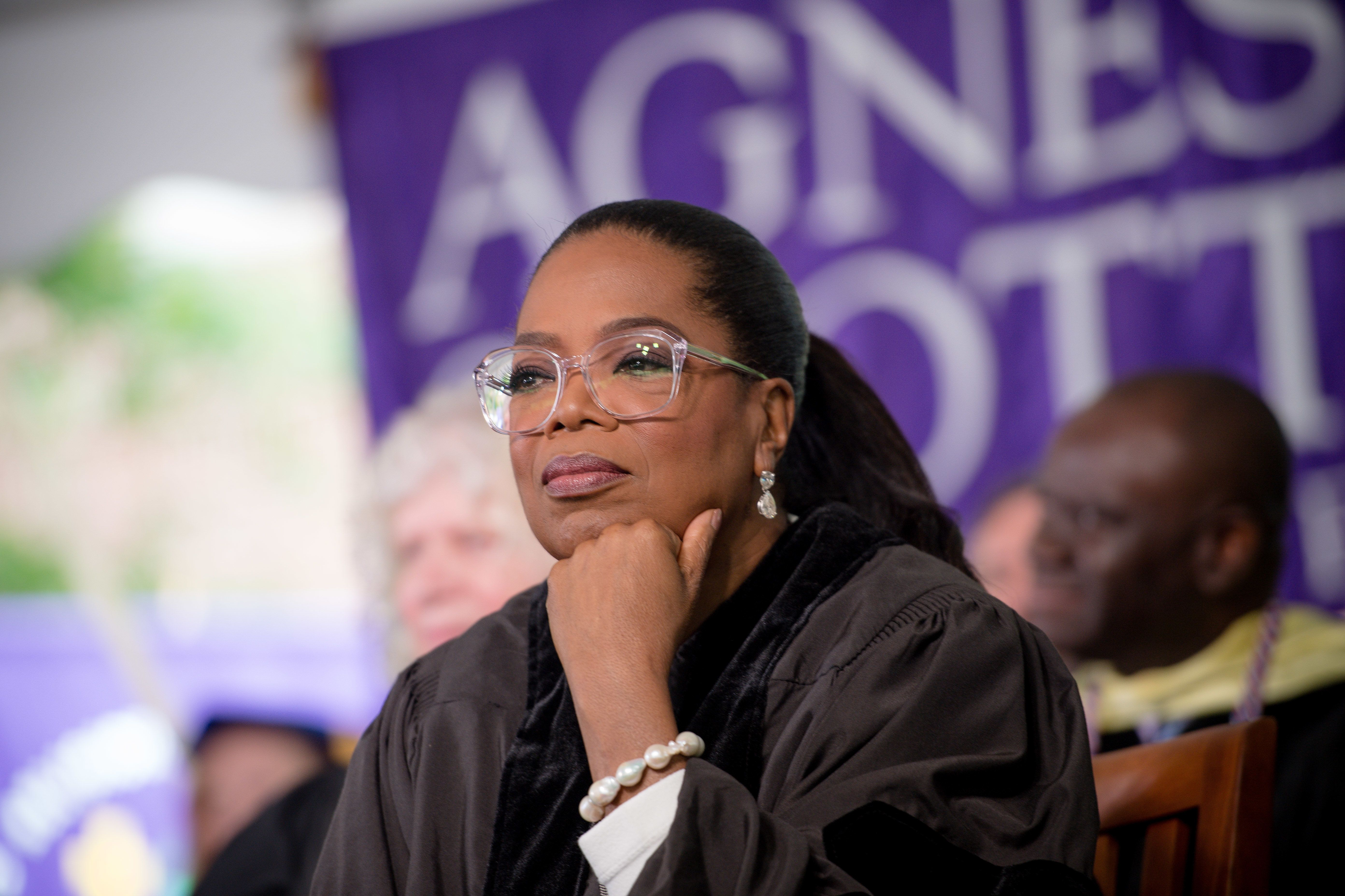 DECATUR, GA - MAY 13:  Oprah Winfrey on stage during the Agnes Scott College 2017 Commencement at Agnes Scott College on May 13, 2017 in Decatur, Georgia.  (Photo by Marcus Ingram/WireImage)