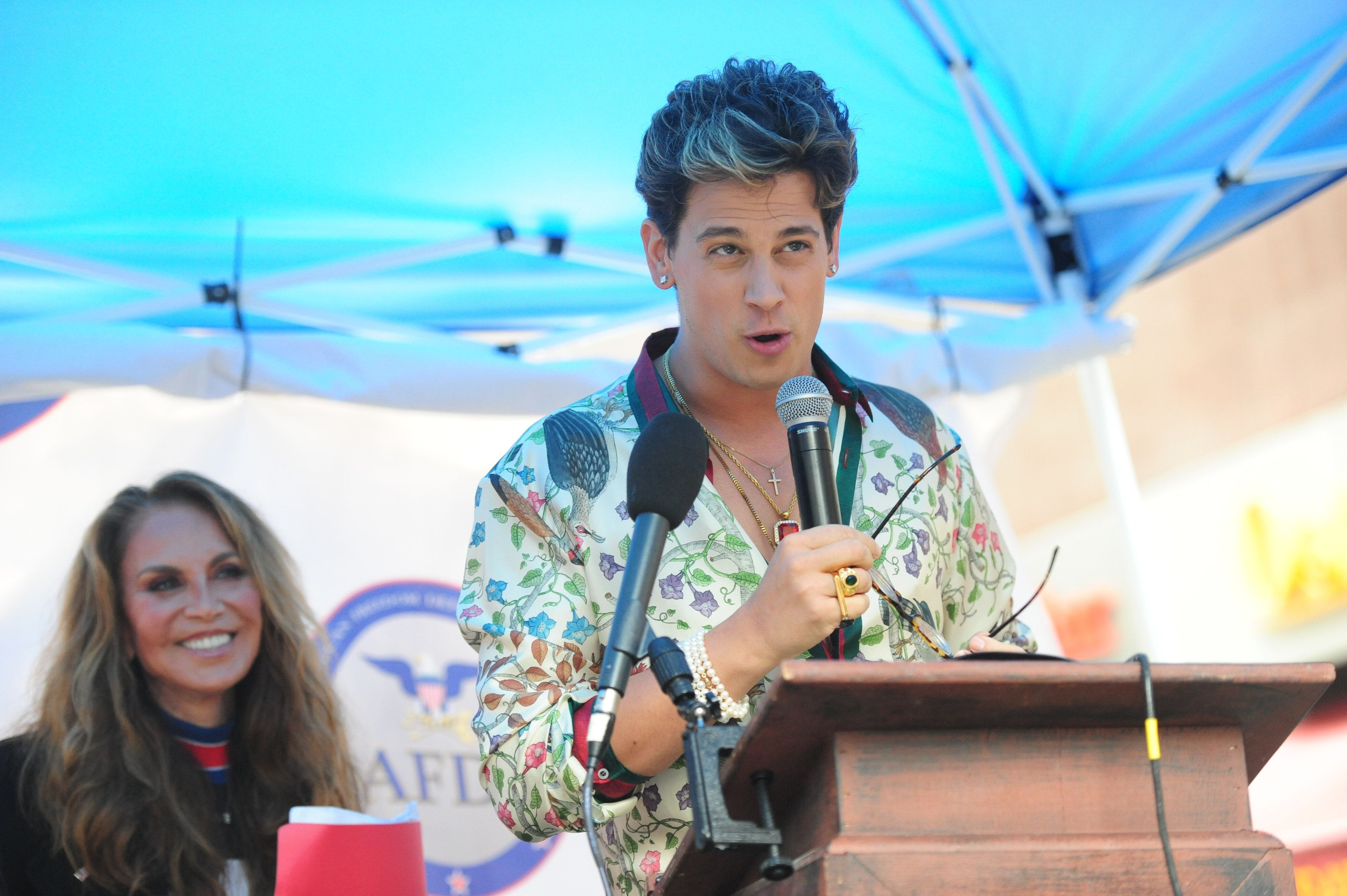 Milo Yiannopoulos speaks at rally with LEFT Pamela Geller - Alt-right supporters hold rally in front of CUNY on East 42nd St. and 3rd ave to protest against CUNY's choice of Muslim-American activist Linda Sarsour as commencement speaker on Thursday May 25, 2017 - (Photo by Susan Watts/NY Daily News via Getty Images)