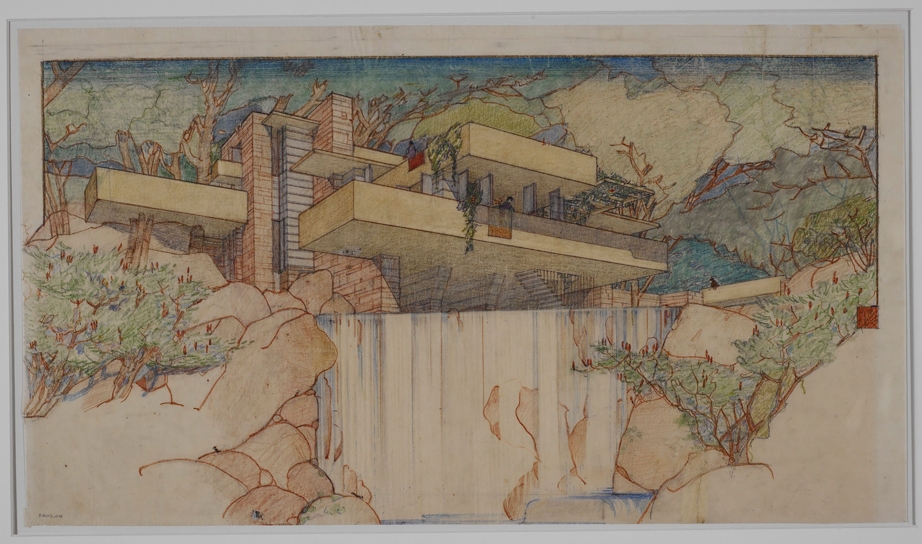 Frank Lloyd Wright's Fallingwater (Kaufmann House) in Mill Run, Pennsylvania (1934–37).