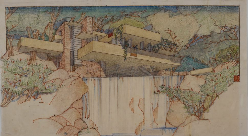 Frank Lloyd Wright's Fallingwater (Kaufmann House) in Mill Run, Pennsylvania (1934–37).