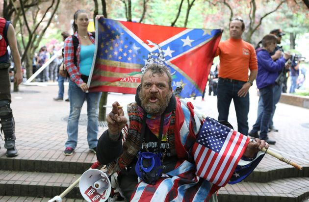 A conservative protester yells during competing demonstrations in Portland, Oregon, on June...