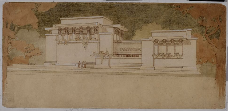 Frank Lloyd Wright's Unity Temple in Oak Park, Illinois (1905–08).