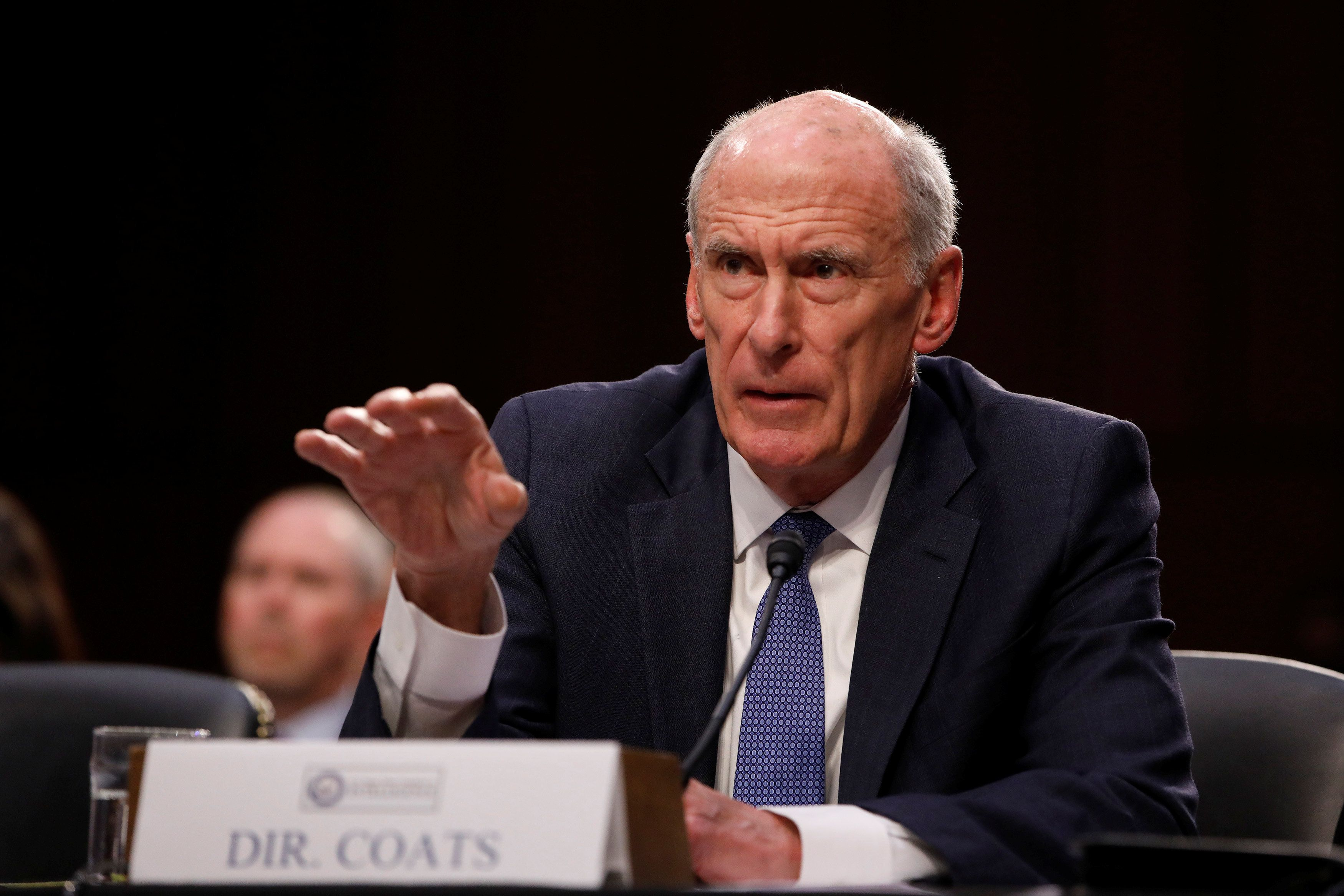 Director of National Intelligence Daniel Coats testifies before a Senate Intelligence Committee hearing on Capitol Hill in Wa