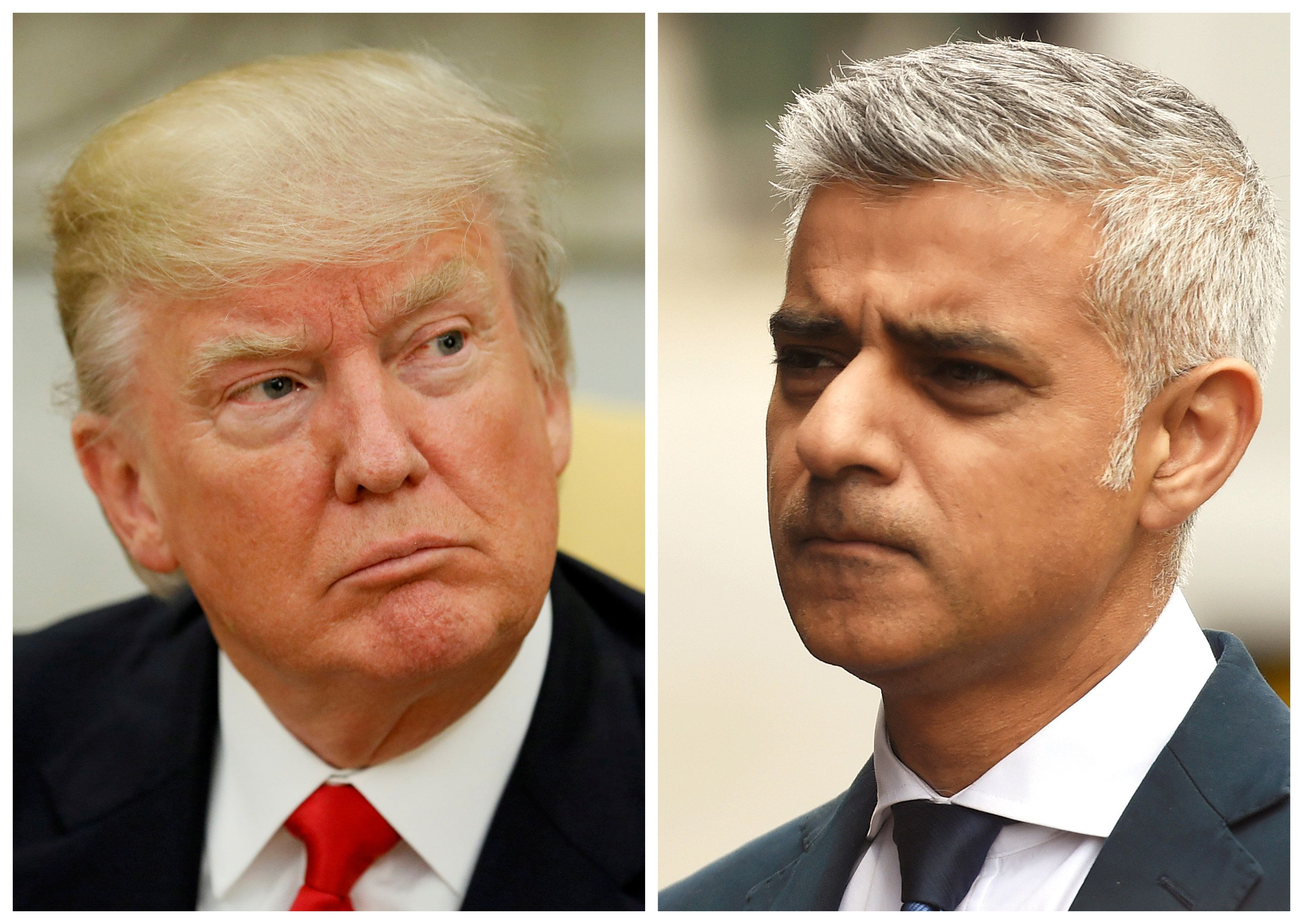 A combination photo shows U.S. President Donald Trump (L) in the Oval Office at the White House in Washington, DC, U.S. on May 31, 2017 and Mayor of London Sadiq Khan at the scene of the attack on London Bridge and Borough Market in central London, Britain, June 5, 2017.   REUTERS/Jonathan Ernst (L) and REUTERS/Clodagh Kilcoyne (R)/File Photos