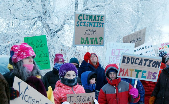 Education Matters. Earth Day protest in Fairbanks, Alaska.