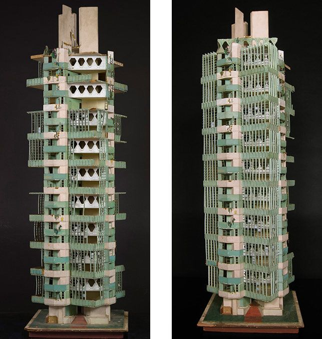 Frank Lloyd Wright's model for the unfinished St. Mark's Tower, similar to the final design of the Price Tower.