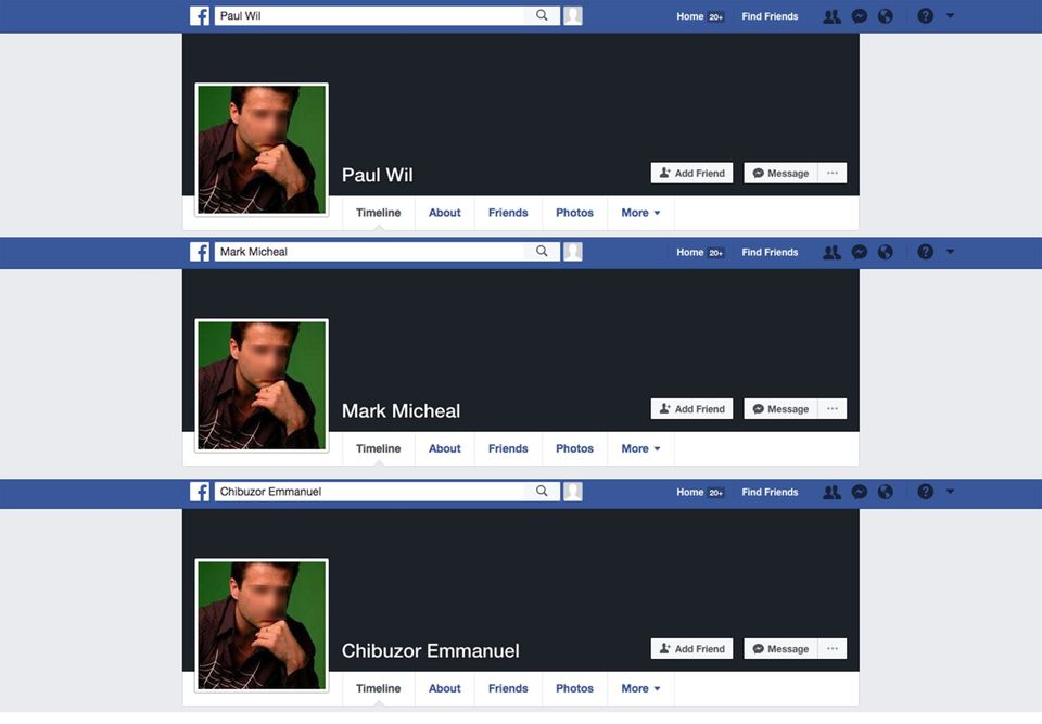 These Facebook profiles existed simultaneously, all using the same