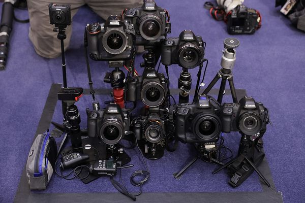 Comey will face this bank of remote-triggered cameras while testifying before the Senate Intelligence Committee.