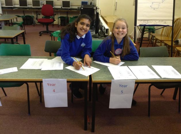 Students were there to register other children to vote during the