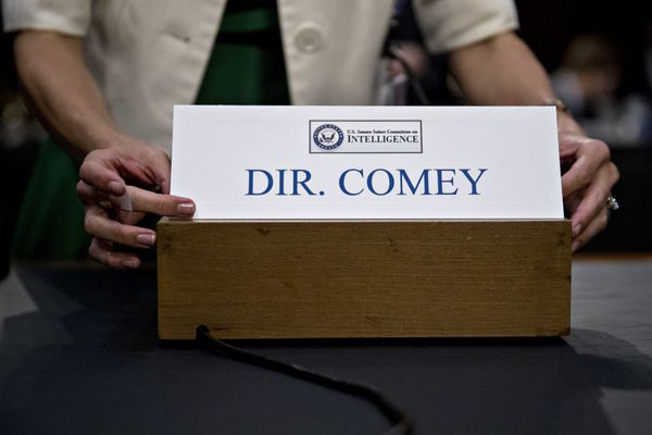 The name placard for the former FBI director is placed on the witness table ahead of his appearance.