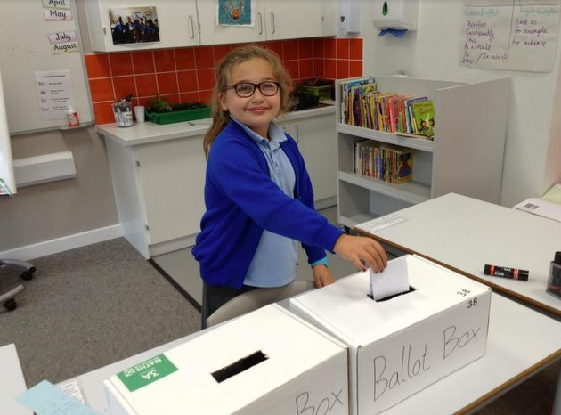 Children voted by putting their choice in the handmade ballot