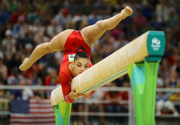 Laurie Hernandez of the USA competes at the Rio Olympic Arena.