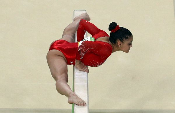 Laurie Hernandez competes at the Rio Olympic Arena.