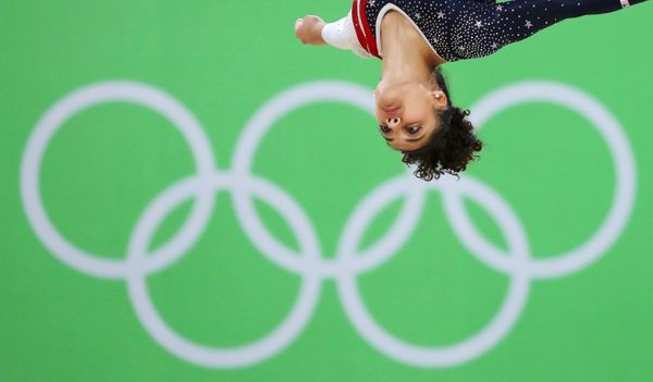 Laurie Hernandez of the USA competes on the floor during the women's team final at the Rio Olympic Arena.