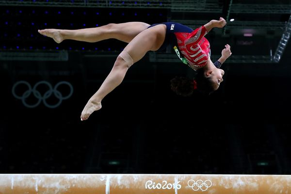 Laurie Hernandez of the United States competes on the balance beam during Women's qualification for Artistic Gymnastics on Da