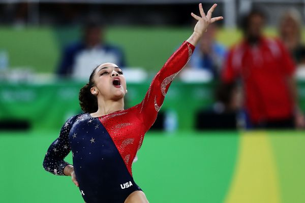 Laurie Hernandez of the United States competes on the floor during Women's qualification for Artistic Gymnastics on Day 2 of