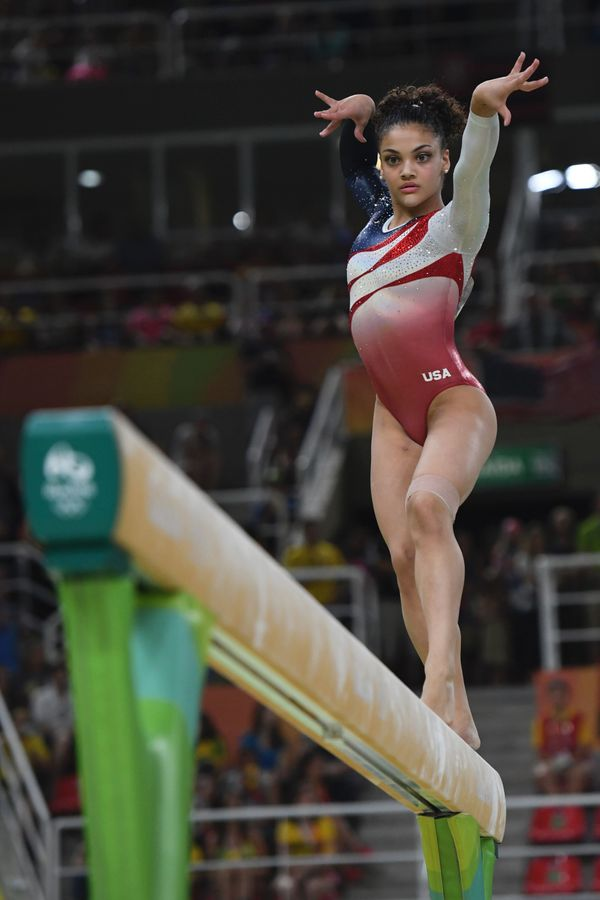U.S. gymnast Laurie Hernandez competes in the Beam event during the women's team final Artistic Gymnastics at the Olympic Are