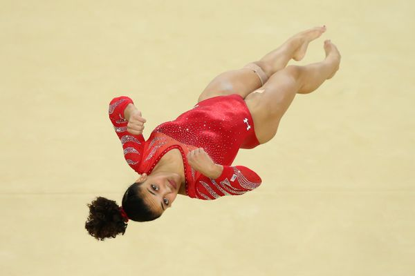 Laurie Hernandez of the United States practices a floor routine during an artistic gymnastics training session on Aug. 4, 201