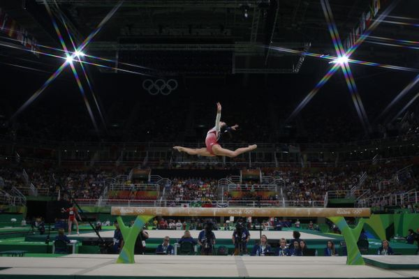 Laurie Hernandez of the United States performing her routine on the balance beam during the Artistic Gymnastics Women's Team