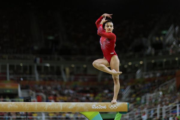 Laurie Hernandez of the United States performing her routine, which won her the silver medal in the Women's Balance Beam Fina