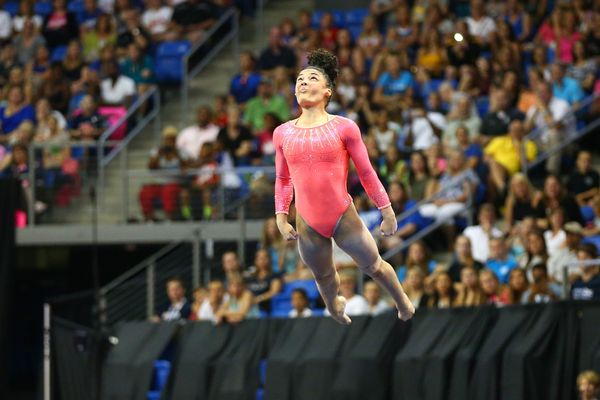 Laurie Hernandez competes in the floor exercise during Day 1 of the 2016 P&G Gymnastics Championships at Chafitz Are