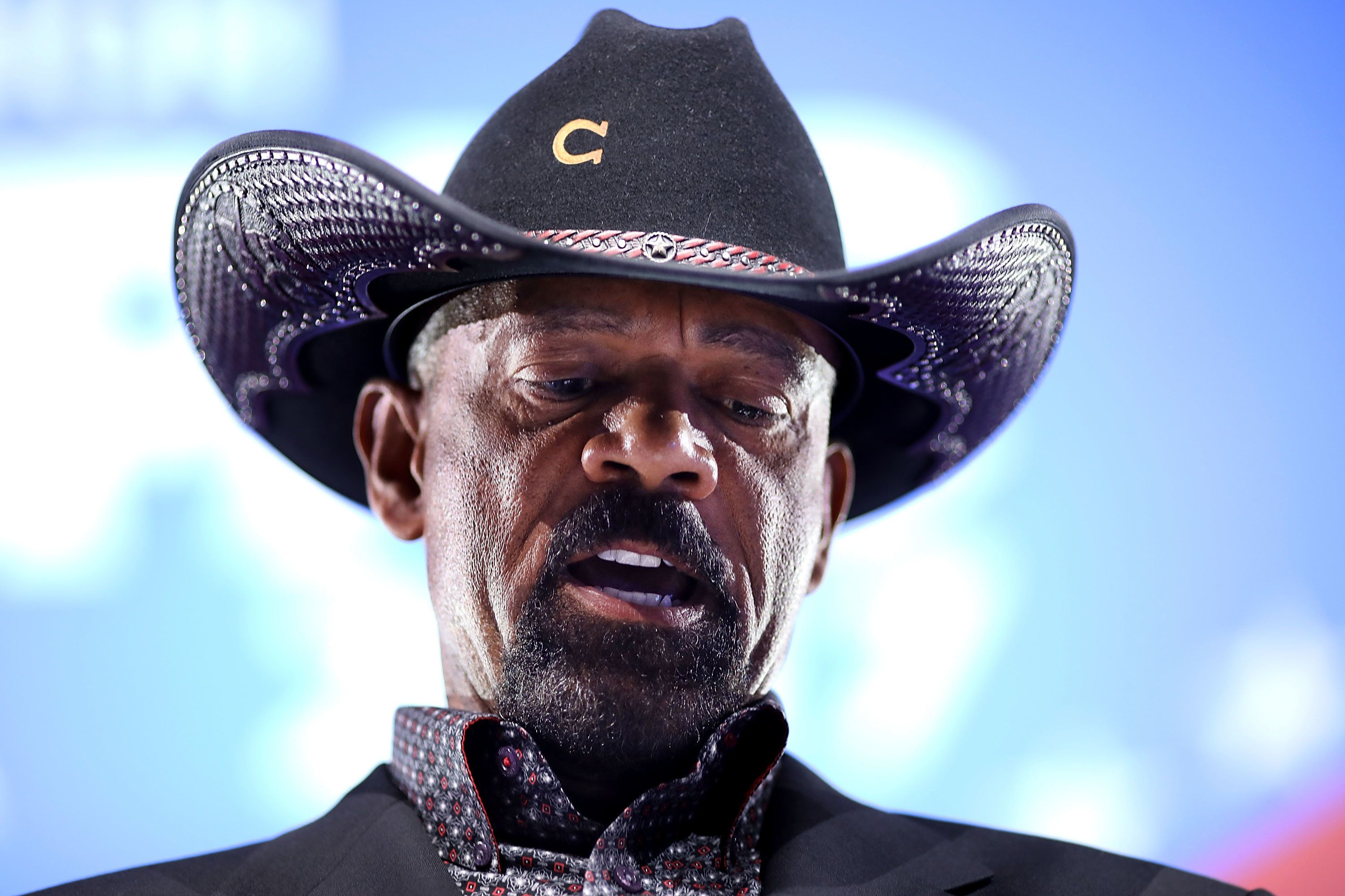 NATIONAL HARBOR, MD - FEBRUARY 23:  Milwaukee County Sheriff David Clarke speaks as part of a pannel discussion titled 'When did World War III Begin? Part A: Threats at Home' during the Conservative Political Action Conference at the Gaylord National Resort and Convention Center February 23, 2017 in National Harbor, Maryland. Hosted by the American Conservative Union, CPAC is an annual gathering of right wing politicians, commentators and their supporters.  (Photo by Chip Somodevilla/Getty Images)
