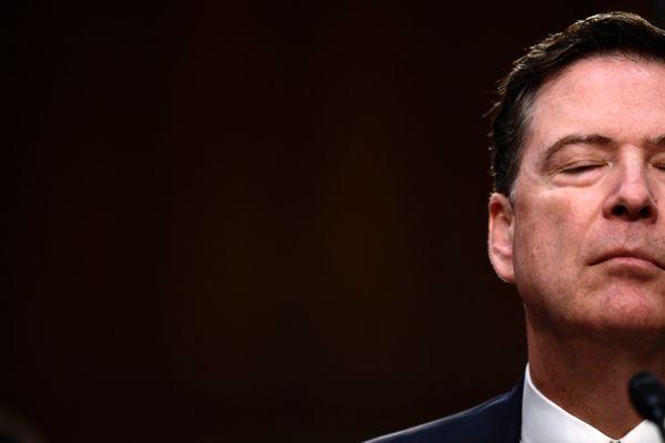 Comey pauses for a moment during the hearing.