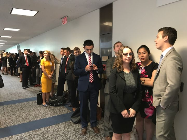 The endless line of people who will not get into James Comey's hearing.