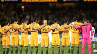 ADELAIDE, AUSTRALIA - JUNE 08: The teams observe a minute's silence to honour those lost in the recent terrorist attacks during the 2018 FIFA World Cup Qualifier match between the Australian Socceroos and Saudi Arabia at the Adelaide Oval on June 8, 2017 in Adelaide, Australia. (Photo by James Elsby/Getty Images)