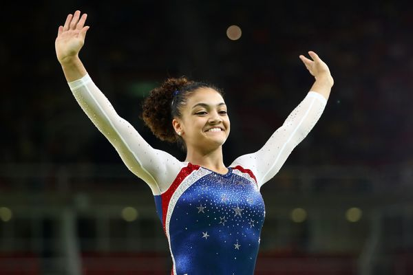 Laurie Hernandez of the United States performs during the Gymnastics Rio Gala on Day 12 of the 2016 Rio Olympic Games on Aug.
