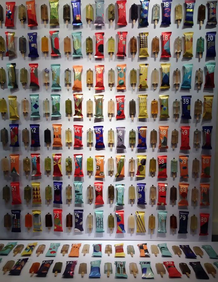 Each popsicle from the project displayed alongside its