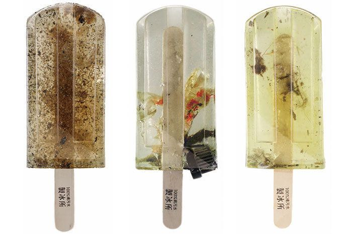 Three design students in Taiwan created popsicles from polluted water to demonstrate how much waste ispolluting the cou