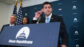 UNITED STATES - JUNE 7: Speaker of the House Paul Ryan, R-Wis., conducts a news conference after a meeting of the House Republican Conference in the Capitol on June 7, 2017. House Majority Leader Kevin McCarthy, R-Calif., and Rep. Mia Love, R-Utah., also appear. (Photo By Tom Williams/CQ Roll Call)
