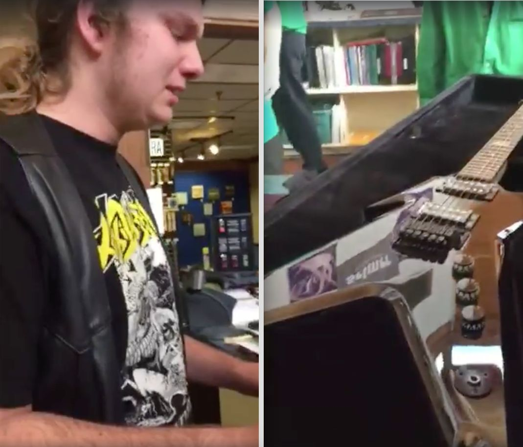 A 16-year-old boy was presented with a surprise birthday gift from his late father on Wednesday that reduced him, and the internet, to tears.