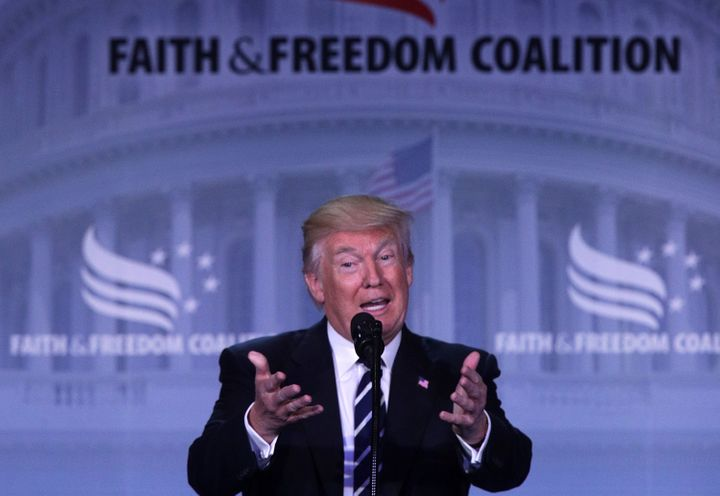 President Donald Trump speaks during the Faith & Freedom Coalition's Road to Majority Conference June 8, 2017, in Washing