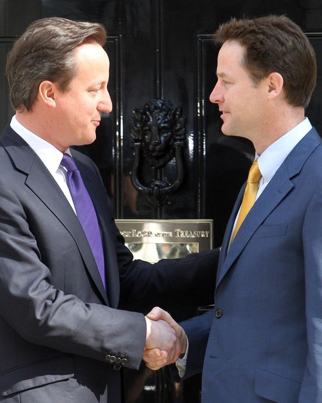 Tory Prime Minister David Cameron (left) formed a coalition with Nick Clegg's Liberal Democrats in May