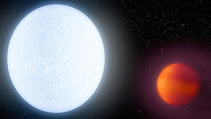 Artist's illustration showing the bright star KELT-9 (left) and its ultrahot planet, KELT-9b.