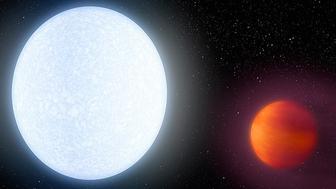 Artists illustration showing the bright star KELT-9 and its ultrahot planet KELT-9b