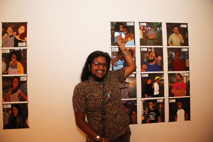 <em>Mitali Punchali poses next to their illustration. </em>