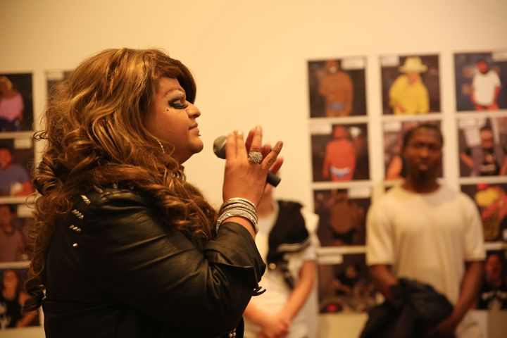 <em>San Francisco drag queen Lulú did a rendition of Jenni Rivera songs during the opening of the show. </em>
