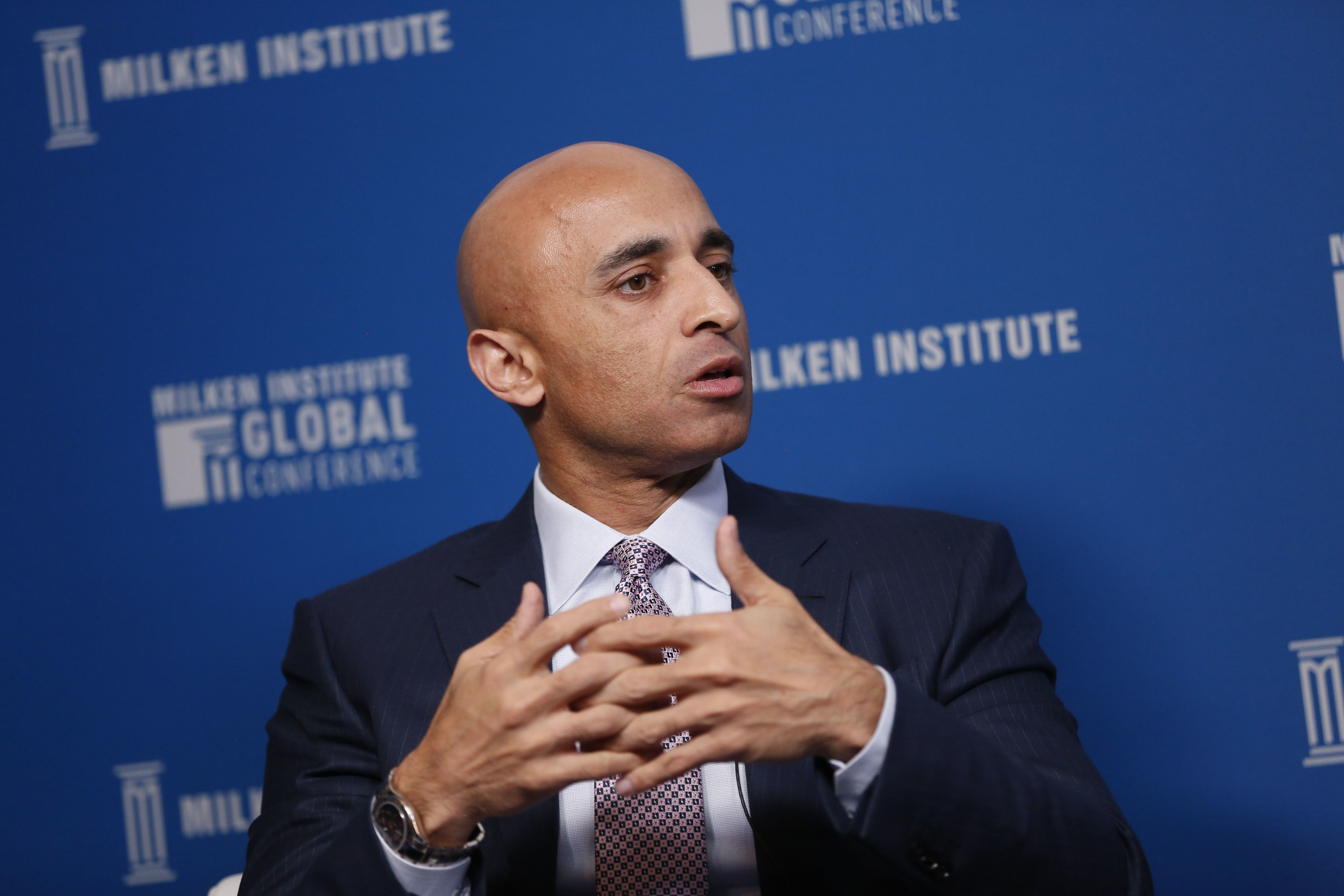 Yousef Al Otaiba, United Arab Emirates' (UAE) ambassador to the U.S., speaks during the Milken Institute Global Conference in Beverly Hills, California, U.S., on Tuesday, May 2, 2017. The conference is a unique setting that convenes individuals with the capital, power and influence to move the world forward meet face-to-face with those whose expertise and creativity are reinventing industry, philanthropy and media. Photographer: Patrick T. Fallon/Bloomberg via Getty Images