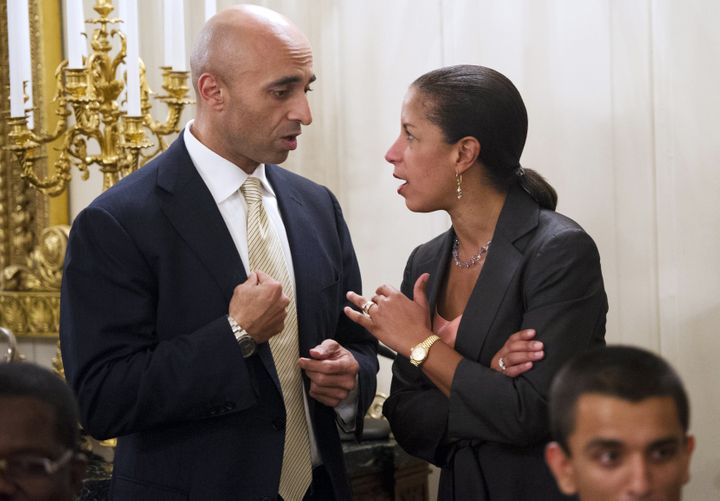 National security adviser Susan Rice speaks with Yousef Al Otaiba, ambassador of the United Arab Emirates, during a dinner ho